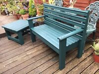 Garden 2 person chunky rustic style seat Bench and Table hand made from reclaimed wood