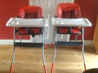 Red reclining high chairs