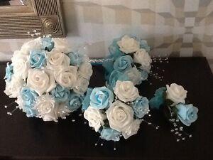WEDDING FLOWERS BRIDES IVORY & TURQUOISE FOAM ROSE BRIDAL BOUQUET PACKAGE