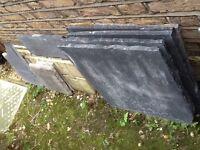 Black limestone paving slabs 4x350x350 & 2x530x530 bought at Adrian hall garden centre