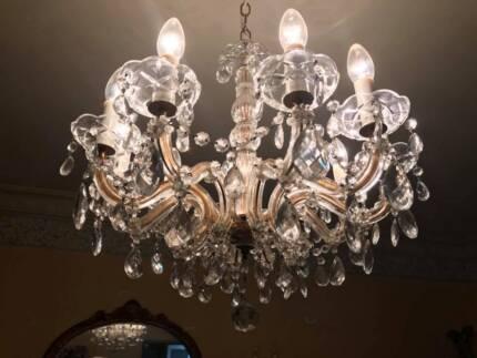 Vintage Crystal 3 Branch Chandelier Light | Ceiling Lights | Gumtree ...