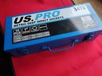 "NEW 1 inch impact socket set US Pro 1"" in metal case"