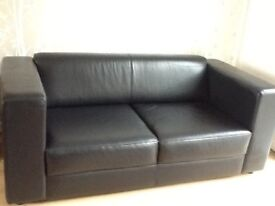 Five Piece Leather Suite - Two Seater Sofa and Four Arm-chairs in charcoal black