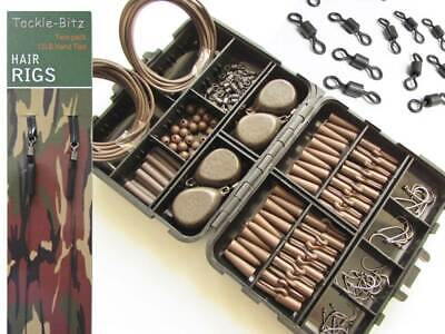 Brown Fishing Tackle Box Set 4 Carp Weights Safety Clips Hooks Swivels Hair rigs