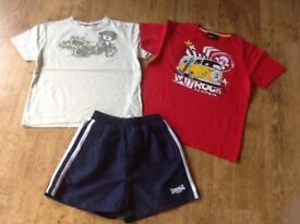 3 BOYS CLOTHES AGE 9-10 YEARS - RED SALTROCK TSHIRT &MINT GREEN SALTROCK TSHIRT&NAVY LONSDALE SHORTS