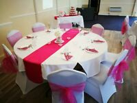 5 used, fuchsia coloured satin table runners. Collection only.
