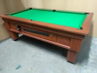 Outdoor 7x4 Slate Pub Bed Pool Table. New Recover & Accessories. Free Local Delivery. Coin Operated