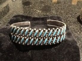 Native American Zuni petite point sterling cuff bracelet stamped with the Bay trading Stamp