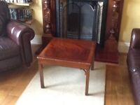 Table side table or occasional table Mahogony with inlay used but in good condition.