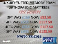 Luxury Tufted Bonnell Spring Orthopaedic Memory Foam Mattresses NBF Approved