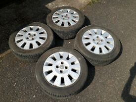 setoff 4 alloy wheels with very good tyres 195 55 r15 vauxhall corsa c or combo van