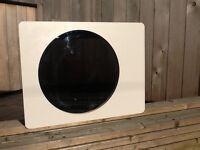 A stylish modern White & wood veneer slim bathroom cabinet with a round mirror,