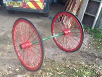 Antique horse cart,cast iron wheels axle