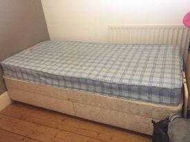 single bed for sale £40, clean, comfortable, four wheels and two large drawers