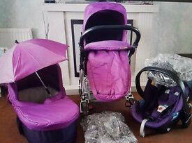 Beautiful pram set suitable from birth. Carry cot carseat pram seat raincovers. Smoke freehome