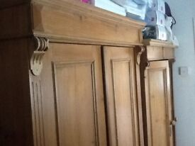 Two beautiful antique solid pine wardrobes
