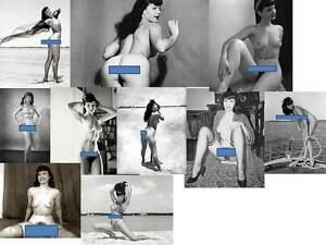 LOTTO-10-FOTO-RISTAMPE-REPRINT-BETTY-PAGE-PHOTOGRAPHS-B-N