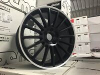 19″ Staggered C63 AMG Style Alloy Wheels – Matt Black / Machined Lip – VW / Audi / Mercedes – 5×112