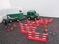Early Learning Centre Large Wooden Pony Club Car - Horse Trailer - Pony - Show Jumps