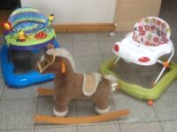Items are £10 and £20 each -White and green walker and rocking horse are £10 each-blue walker is£20