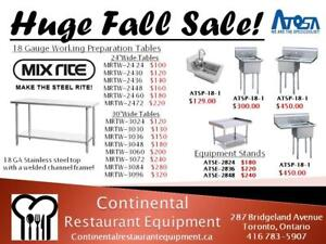 Restaurant Food Prep Working tables stainless steel Factory Prices! Selling New and Used equipment for over 25 Years!