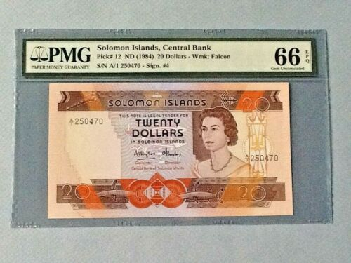 Solomon Islands 20 Dollars P-12 ND(1984)  PMG 66 EPQ
