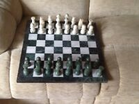 Marble chess set and board as new.