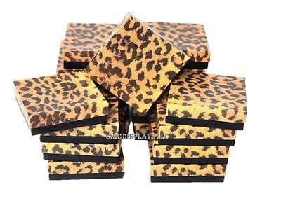 LOT OF 12 LEOPARD COTTON FILLED BOX JEWELRY BOXES BRACELET BANGLE BOX 3.5x3.5