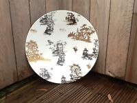 Beautiful decorative large ceramic plate with Japanese ink drawings. Width 30inches. Price £30