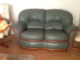 Three & two matching seater sofas leather very clean.