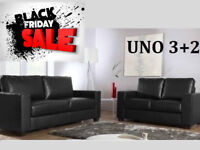 SOFA BLACK FRIDAY SALE 3+2 Italian leather sofa brand new black or brown 48538BUAD