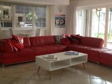 Red Leather Corner Lounge Suite Mona Vale Pittwater Area Preview