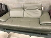 High retail stylish grey leather sofa