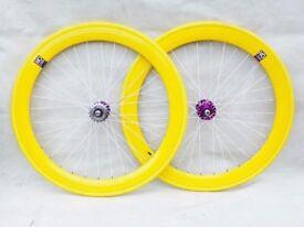 No Logo flip-flop hub 700c wheels, yellow