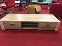 large wooden 2 drawer tv stand
