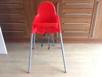 Red IKEA high chair