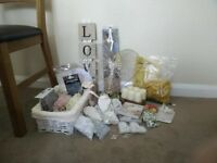 Various Wedding Decorations: hearts, diamante scatters, candles, signs, beads