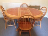 Heavy solid wood tile top extending dining table and chairs terracotta