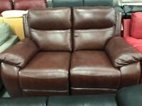 Brown leather recliner 2 seater sofa