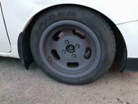 "13"" 4x100 6J slot alloys with tyres"
