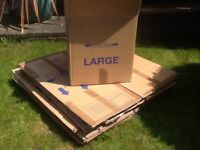 11 large packing boxes