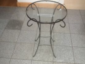 Black metal framed 69cm height x 46cm circular glass tabletop-excellent condition -£10