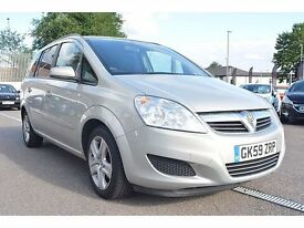 FROM £20 PER WEEK 2009 VAUXHALL ZAFIRA EXCLUSIVE 7 SEATER 1.6 PETROL MANUAL SILVER LOW MILES FSH