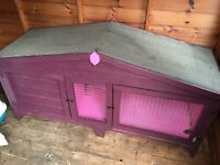 5 foot handmade rabbit guinea pig hutch pink and purple