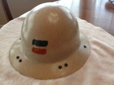 Vintage Beige Miners Safety Helmet Hard Hat Full Brim Style - Dc Sticker Inside