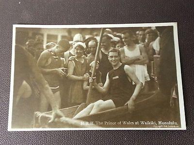 Prince of Wales King Edward VIII Duke of Windsor Waikiki Hawaii Photo Postcard