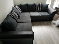 SHANNON BLACK AND GREY CORNER OR 3+2 SEATER SOFA SET AVAILABLE IN STOCK