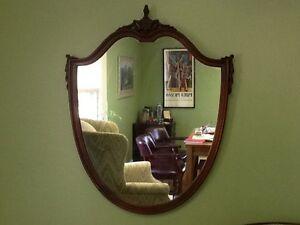 Antique-Mahogany-Shield-Mirror-Federal-Style-c-1920