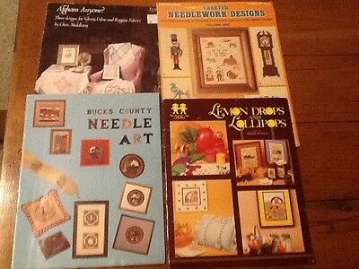 Lot 4 COUNTED CROSS STITCH PATTERN BOOKS Afghans Needle Art Pillows & misc