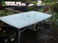 Glass and metal outside dining table - FREE